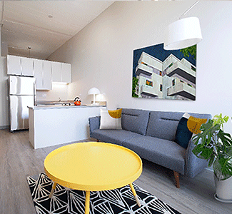 1 Bedroom apartments featuring open living room and kitchen