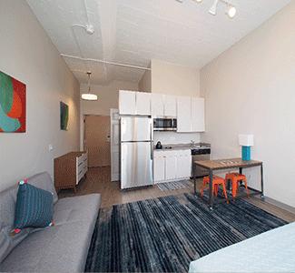 Open floor plan studio, student apartments