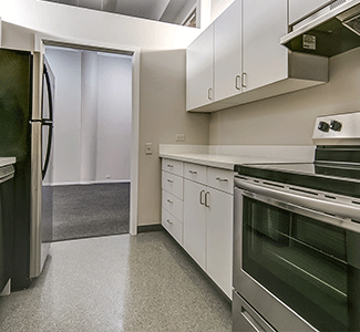 Galley Kitchen of 1 bedroom college apartment