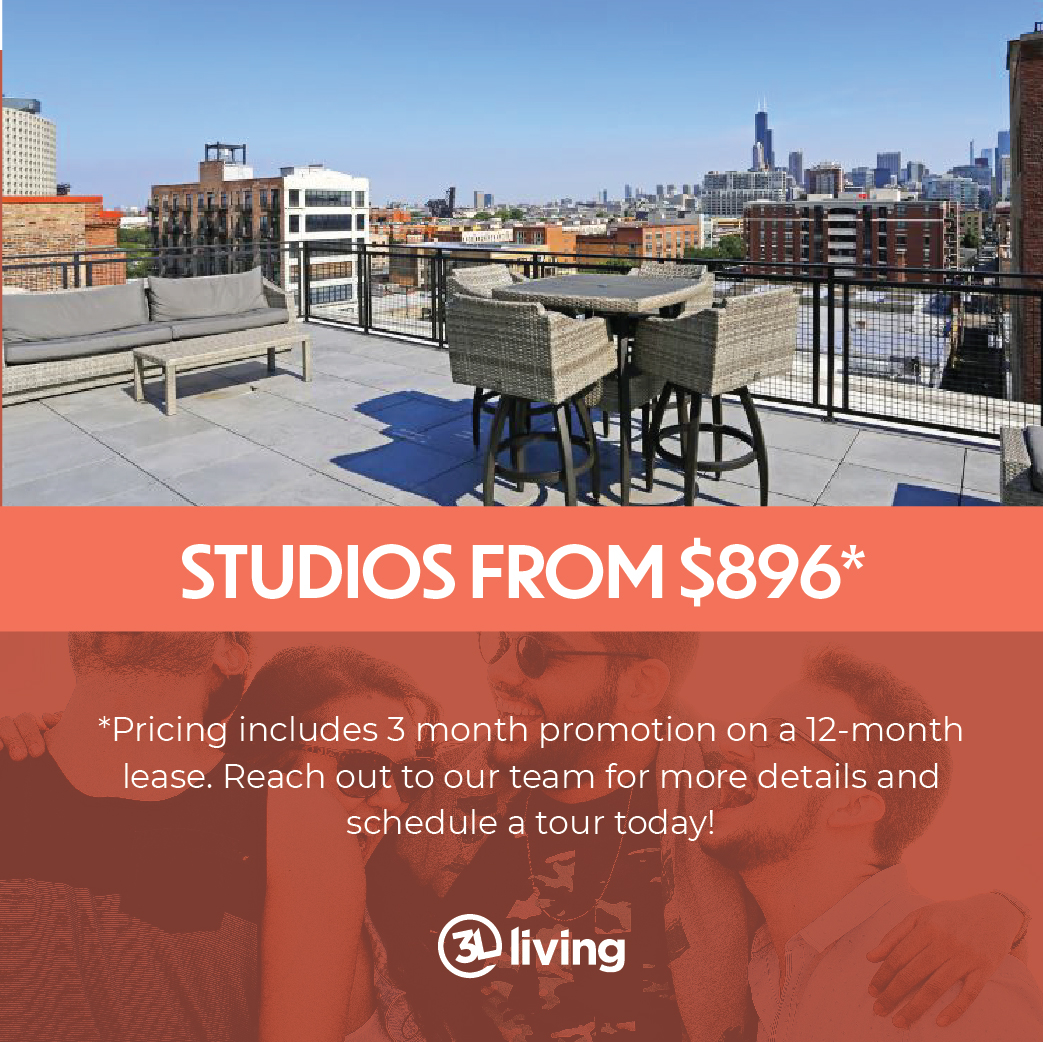 Studio Apartments from $975 - price includes 3 month promotion with 12-month lease on select units.