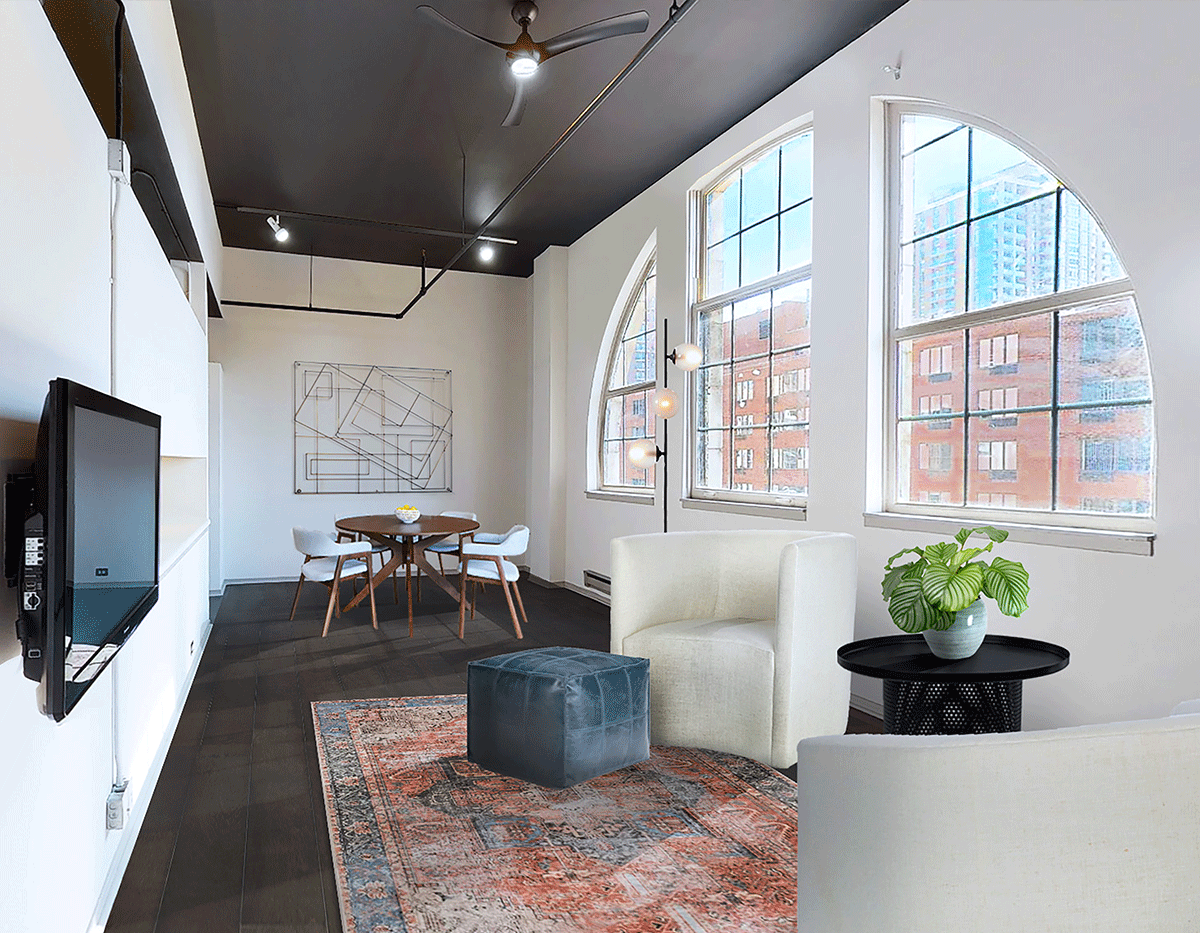Renovated apartments in South Loop Chicago, featuring plank flooring and industrial windows.