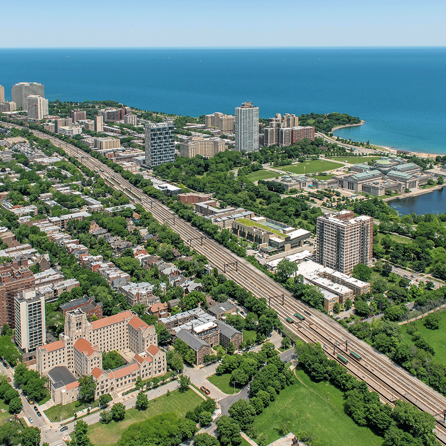 Aerial view of the lake front, city and parks of Hyde Park Chicago.