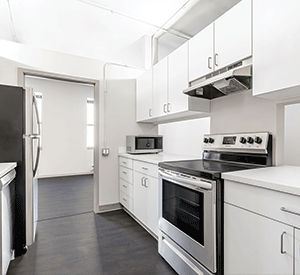 Renovated living room of 2 bedroom south loop apartment