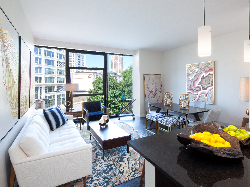 Beautiful modern Westown Milwaukee apartments with large windows overlooking down town