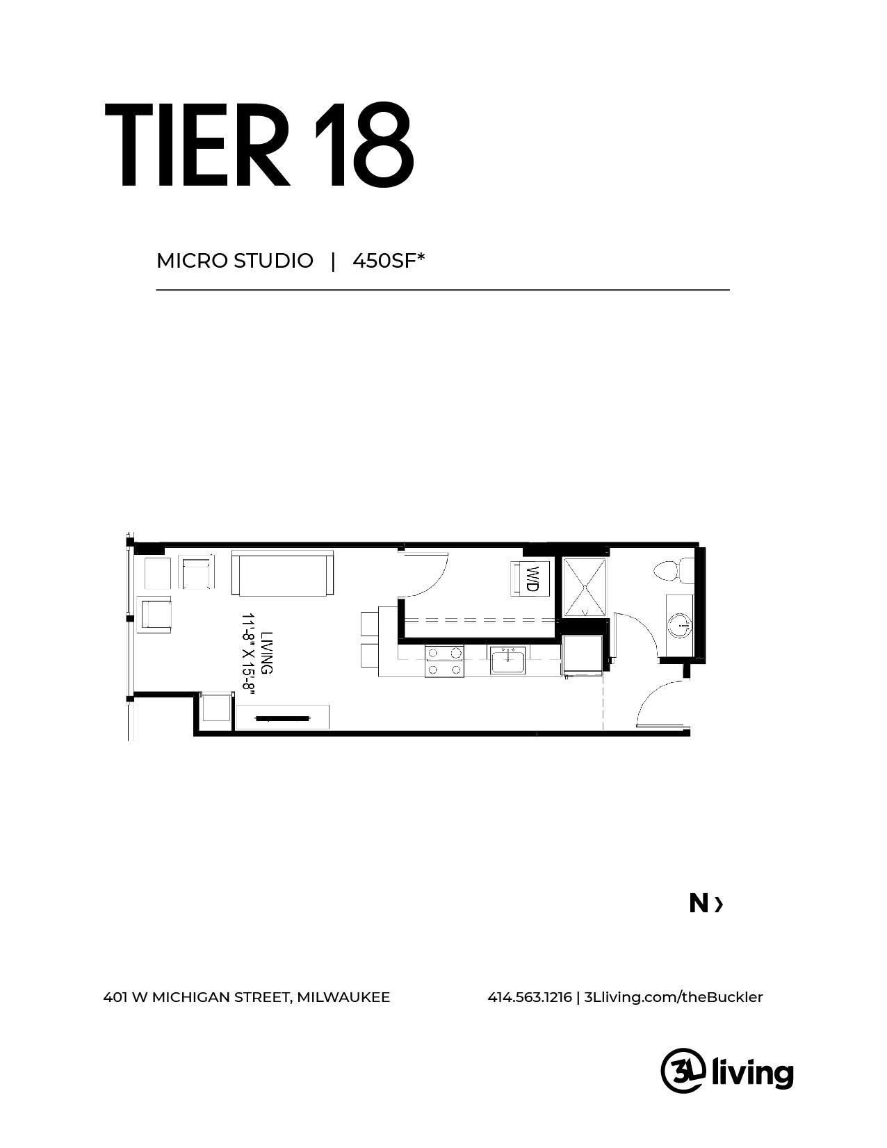 micro unit floor plan of Milwaukee apartment