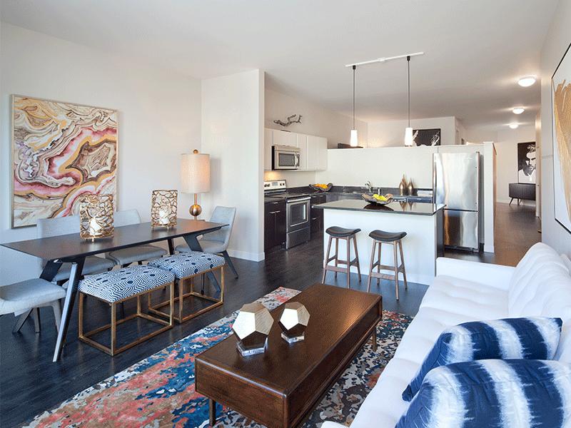 Open floor plan apartment overlooking down town Milwaukee